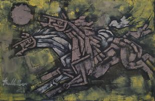 The two horses by Balbir Singh, Expressionism Painting, Acrylic on Canvas, Gray color