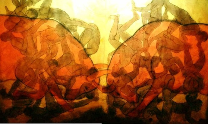 Masculine Expressions by Rani Rekha, Cubism Painting, Mixed Media on Canvas, Orange color
