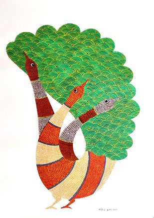 Peacock by Rajendra Kumar Shyam , Folk Painting, Acrylic on Paper, White color