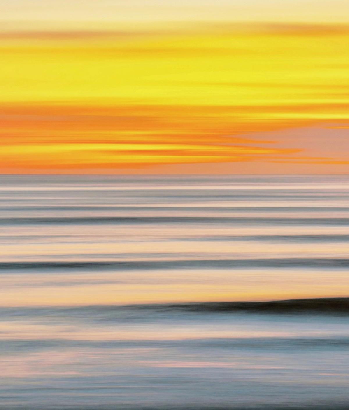 Seascape No. 4 by M. Shafiq, Digital Photography, Digital Print on Archival Paper, Orange color