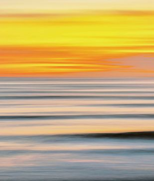 Seascape No. 4 by M. Shafiq, Digital Photography, Digital Print on Archival Paper, Orange color