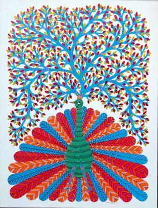 Tree of life by Unknown Artist, Folk Painting, Acrylic on Canvas, Silver color