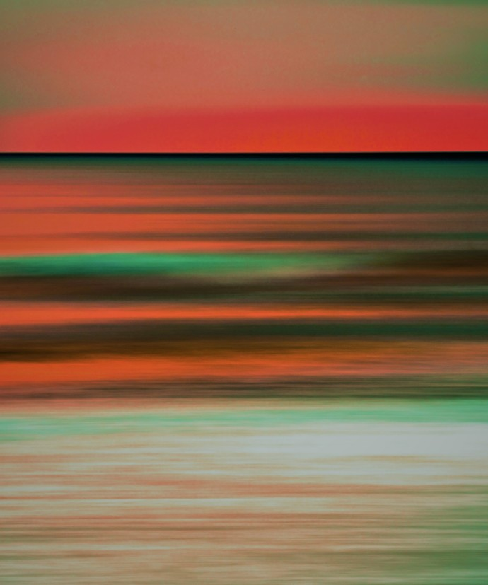 Seascape No. 11 by M. Shafiq, Digital Photography, Digital Print on Archival Paper, Orange color