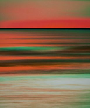 Seascape No. 11 by M. Shafiq, Digital Photography, Digital Print on Archival Paper, Orange color