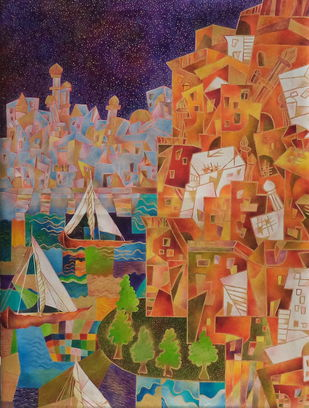 By the lake by Chaitali Chatterjee, Cubism Painting, Oil on Canvas, Orange color