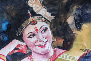 Dancer 4 : Mohini by Mopasang Valath, Illustration Painting, Watercolor on Paper, Gray color