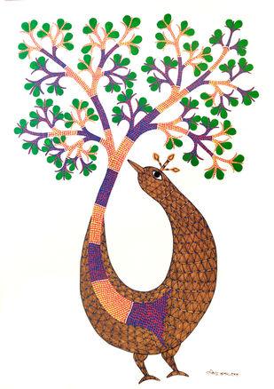 Tree of life by Rajendra Kumar Shyam , Folk Painting, Acrylic on Paper, White color
