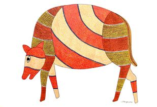 Gond Painting by Rajendra Kumar Shyam , Folk Painting, Acrylic on Paper, White color