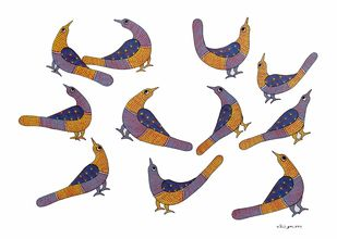 Gond Painting (birds) by Rajendra Kumar Shyam , Traditional Painting, Acrylic on Paper, Silver color