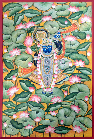Nathdwara with Lotus by Unknown Artist, Folk Painting, Stone Colour on Cloth, Silver color
