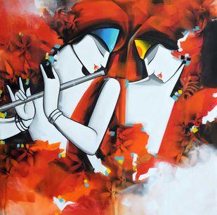 love song4 by pradeesh k raman, Illustration Painting, Acrylic on Canvas, Maroon color