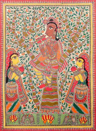 Krishna Snag Gopi by Unknown Artist, Folk Painting, Acrylic on Paper, Orange color