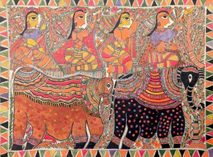 Madhubani by Unknown Artist, Folk Painting, Acrylic on Paper, Red color