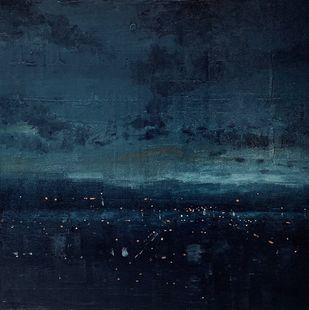 Evening city1 by Harshit Bondre, Abstract Painting, Oil on Canvas, Gray color