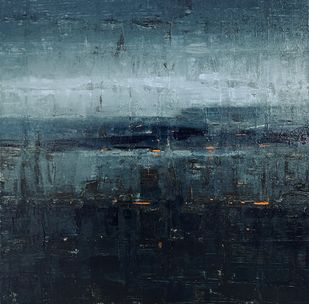 Evening Lake view by Harshit Bondre, Abstract Painting, Oil on Canvas, Gray color