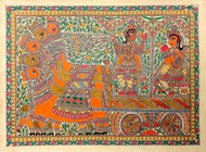 Krishna Arjun on Rath by Unknown Artist, Folk Painting, Acrylic on Paper, Orange color