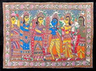 Ram Sita Vivah by Unknown Artist, Folk Painting, Acrylic on Paper, Purple color
