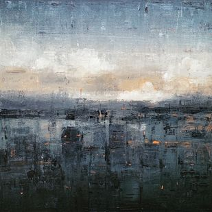 Cityscape 1 by Harshit Bondre, Abstract Painting, Oil on Canvas, Gray color