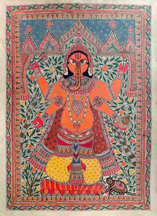 Ganesha by Unknown Artist, Folk Painting, Acrylic on Paper, Purple color