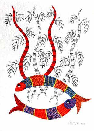 Untitled by Rajendra Kumar Shyam , Folk Painting, Acrylic on Paper, White color