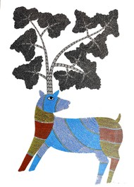 Deer by Rajendra Kumar Shyam , Folk Painting, Acrylic on Paper, Silver color