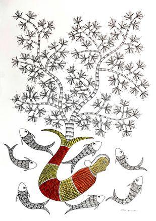Fish by Rajendra Kumar Shyam , Folk Painting, Acrylic on Paper, Silver color