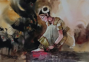 The Final Step by Mopasang Valath, Illustration Painting, Watercolor on Paper, Gray color