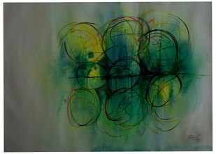 abstract-11 by Ravi Kumar A S, Abstract Painting, Watercolor & Ink on Paper, Gray color