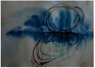 abstract-13 by Ravi Kumar A S, Abstract Painting, Watercolor & Ink on Paper, Gray color