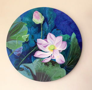 Pink lotus in the round 1 by Vishwajyoti Mohrhoff, Illustration Painting, Acrylic on Canvas, Orange color