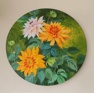 Yellow dahlias in he roun by Vishwajyoti Mohrhoff, Illustration Painting, Acrylic on Canvas, Olive color