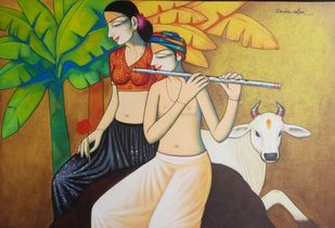 Radhika 6 by Pravin Utge, Illustration Painting, Acrylic on Canvas, Olive color