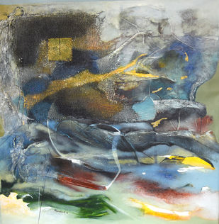 Poetics of Emotions CXIII by Kandan G, Abstract Painting, Acrylic on Canvas, Gray color