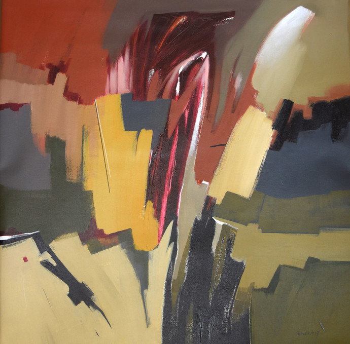 Poetics of Emotions CVI by Kandan G, Abstract Painting, Acrylic on Canvas, Gray color