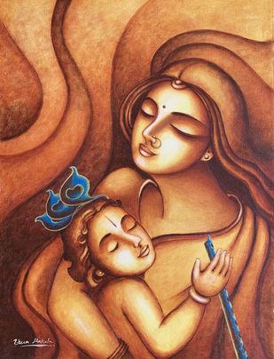 Krishnam sundaram by Uma Makala, Illustration Painting, Acrylic on Canvas, Orange color