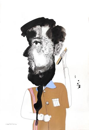 Thinking by Prittam Priyalochan, Illustration Painting, Mixed Media on Paper, White color