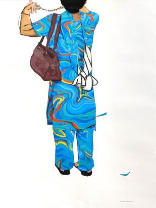 Untitled by Prittam Priyalochan, Illustration Painting, Mixed Media on Paper, White color