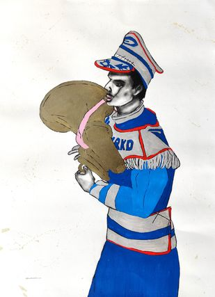 musician by Prittam Priyalochan, Illustration Painting, Mixed Media on Paper, White color