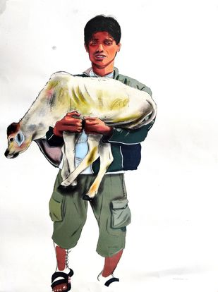 Man Lift on lap Cow by Prittam Priyalochan, Illustration Painting, Mixed Media on Paper, White color