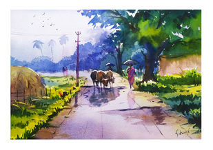 Rainy Day by Artist Gayathry , Illustration Painting, Watercolor on Board, Silver color
