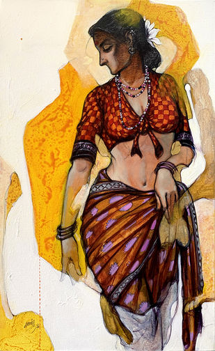 beauty by Ramchandra Kharatmal, Illustration Painting, Acrylic & Graphite on Canvas, Lime color