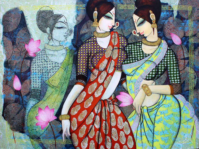 Friends by Varsha Kharatmal, Illustration Painting, Acrylic & Graphite on Canvas, Gray color