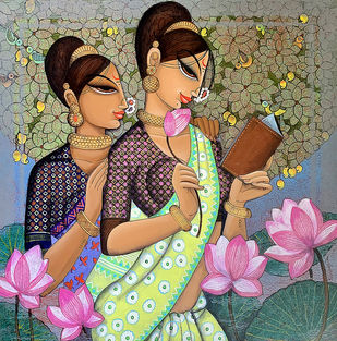 Reading with friend by Varsha Kharatmal, Illustration Painting, Acrylic & Graphite on Canvas, Purple color