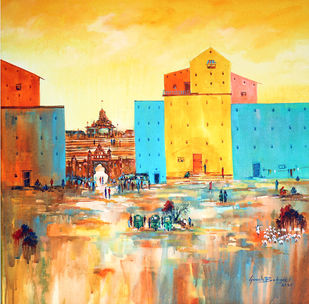 Venice-City_03 by Ganesh Badiger, Illustration Painting, Acrylic on Canvas, Orange color
