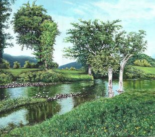 Landscape4 by Pushpendra Singh Mandloi, Illustration Painting, Oil on Canvas, Gray color