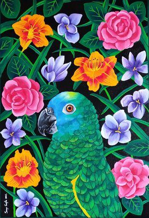 Gleaming Garden by Sreya Gupta, Decorative, Illustration Painting, Acrylic on Canvas, Gray color