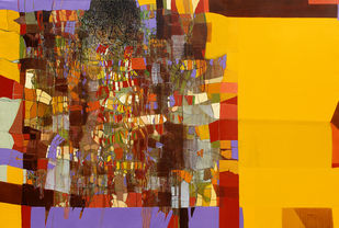 untitled by Yogesh murkute, Abstract Painting, Mixed Media on Canvas, Yellow color