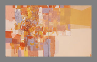 untitled by Yogesh murkute, Abstract Painting, Mixed Media on Canvas, Orange color