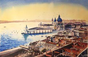 La Salute, Venice by Lasya Upadhyaya, Illustration Painting, Watercolor on Paper, Orange color