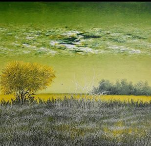 The Natural Glow by Ashok Baldodia, Impressionism Painting, Acrylic on Canvas, Olive color